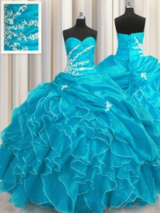 Unique Aqua Blue Organza Lace Up Sweet 16 Dress Sleeveless Floor Length Beading and Appliques and Ruffles