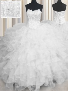 Scalloped Floor Length Lace Up Vestidos de Quinceanera White for Military Ball and Sweet 16 and Quinceanera with Beading and Ruffles