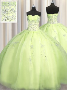 Wonderful Big Puffy Beading and Appliques Quinceanera Gown Yellow Green Zipper Sleeveless Floor Length
