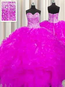 Custom Designed Visible Boning Beaded Bodice Floor Length Ball Gowns Sleeveless Fuchsia Quince Ball Gowns Lace Up