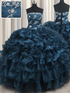 Shining Appliques and Ruffles and Ruffled Layers Quinceanera Gowns Navy Blue Lace Up Sleeveless Floor Length