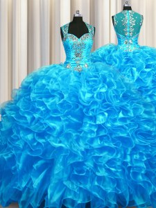Zipper Up See Through Back Sleeveless Organza With Train Zipper Sweet 16 Dress in Baby Blue with Beading and Ruffles