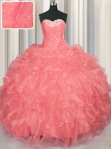 Sweetheart Sleeveless Sweet 16 Dresses Floor Length Beading and Ruffles Watermelon Red Organza