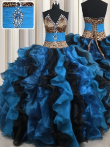 Great Leopard Two Tone Blue And Black V-neck Lace Up Beading and Ruffles Sweet 16 Dresses Sleeveless
