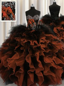 Red And Black Ball Gowns Beading and Ruffles Sweet 16 Dress Lace Up Organza and Tulle Sleeveless Floor Length