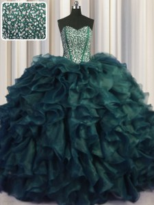 Exquisite Visible Boning Bling-bling Peacock Green Ball Gowns Organza Sweetheart Sleeveless Beading and Ruffles With Train Lace Up 15th Birthday Dress Brush Train