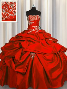 Red Lace Up Strapless Appliques and Pick Ups Sweet 16 Quinceanera Dress Taffeta Sleeveless