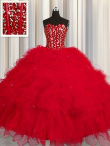 Eye-catching Visible Boning Sleeveless Floor Length Beading and Ruffles and Sequins Lace Up Quince Ball Gowns with Red