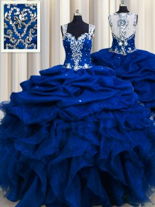 Zipple Up Sequins See Through Back Straps Sleeveless Zipper 15 Quinceanera Dress Royal Blue Organza
