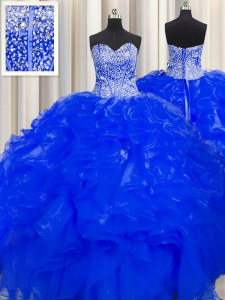 Pretty Visible Boning Beaded Bodice Royal Blue Lace Up Sweetheart Beading and Ruffles Sweet 16 Dress Organza Sleeveless