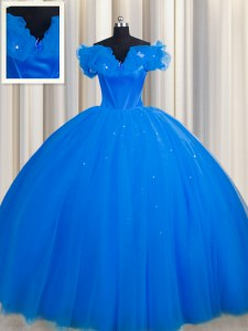 Off The Shoulder With Train Royal Blue Ball Gown Prom Dress Tulle Court Train Short Sleeves Ruching