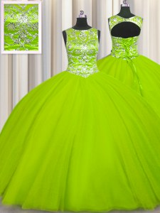 Custom Designed Scoop Yellow Green Sleeveless Floor Length Beading Lace Up 15th Birthday Dress