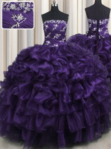 Fashion Ruffled Layers Purple Sleeveless Organza Lace Up Quinceanera Gowns for Military Ball and Sweet 16 and Quinceanera