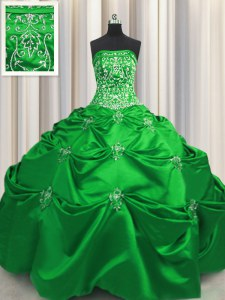 Modern Green Ball Gowns Strapless Sleeveless Taffeta Floor Length Lace Up Beading and Appliques and Embroidery Quinceanera Gowns