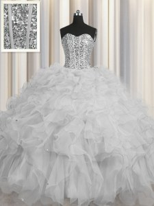 Lovely Visible Boning Floor Length Lace Up Sweet 16 Dress Grey for Military Ball and Sweet 16 and Quinceanera with Beading and Ruffles and Sequins