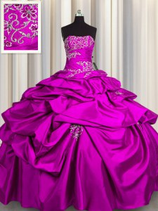 Fuchsia Strapless Neckline Appliques and Pick Ups Quince Ball Gowns Sleeveless Lace Up