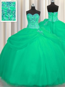 Trendy Big Puffy Sleeveless Lace Up Floor Length Beading Quinceanera Dresses