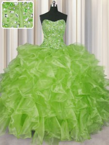 Fine Visible Boning Yellow Green Sleeveless Beading and Ruffles Floor Length Quinceanera Dresses