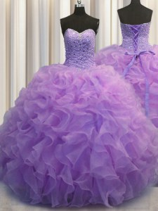 Ideal Sleeveless Lace Up Floor Length Beading and Ruffles Quinceanera Gowns