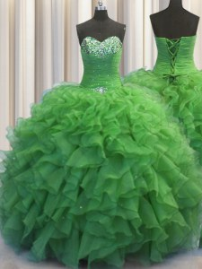 Beaded Bust Green Ball Gowns Beading and Ruffles Quinceanera Dresses Lace Up Organza Sleeveless Floor Length