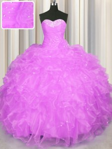 Lilac Sleeveless Organza Lace Up 15th Birthday Dress for Military Ball and Sweet 16 and Quinceanera