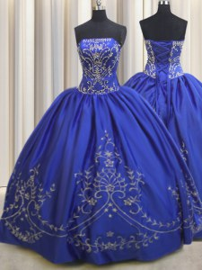 Custom Fit Chiffon Strapless Sleeveless Lace Up Beading and Embroidery Quince Ball Gowns in Royal Blue
