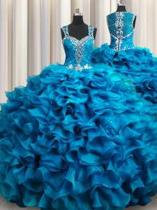 Low Price Zipple Up See Through Back Floor Length Teal 15 Quinceanera Dress Straps Sleeveless Zipper
