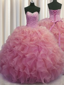 Gorgeous Watermelon Red Ball Gowns Beading and Ruffles Quinceanera Dresses Lace Up Organza Sleeveless Floor Length