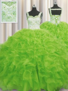 Comfortable Straps Sleeveless Ball Gown Prom Dress Floor Length Beading and Ruffles Yellow Green Organza