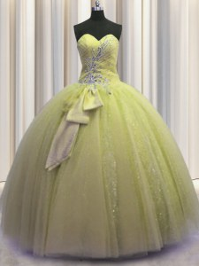 Sequins Bowknot Ball Gowns Quinceanera Gown Light Yellow Sweetheart Tulle Sleeveless Floor Length Lace Up