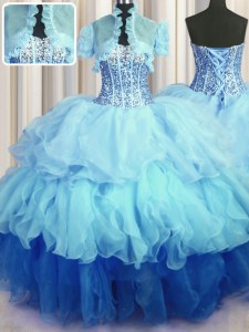 Visible Boning Bling-bling Floor Length Multi-color Vestidos de Quinceanera Organza Sleeveless Beading and Ruffled Layers