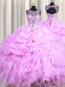 Scoop See Through Sleeveless Floor Length Beading and Ruffles and Pick Ups Lace Up Sweet 16 Dress with Lilac