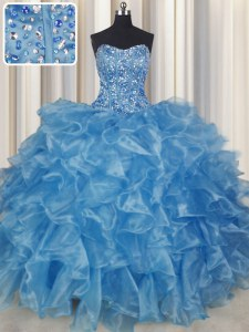 Visible Boning Baby Blue Sleeveless Organza Lace Up Ball Gown Prom Dress for Military Ball and Sweet 16 and Quinceanera