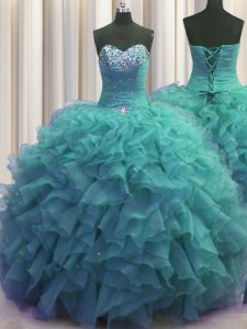 Sumptuous Beaded Bust Organza Sweetheart Sleeveless Lace Up Beading and Ruffles 15th Birthday Dress in Turquoise