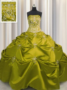 Excellent Embroidery Floor Length Olive Green Quinceanera Gowns Strapless Sleeveless Lace Up