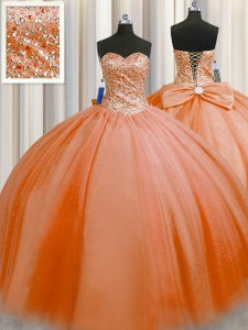 Puffy Skirt Tulle Sweetheart Sleeveless Lace Up Beading 15 Quinceanera Dress in Orange Red