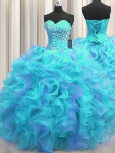 Multi-color Sleeveless Beading and Ruffles Floor Length Quinceanera Dresses