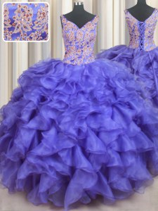 V-neck Sleeveless Ball Gown Prom Dress Floor Length Appliques and Ruffles Blue Organza