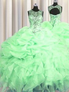 Scoop See Through Apple Green Lace Up Quinceanera Gowns Beading and Ruffles and Pick Ups Sleeveless Floor Length