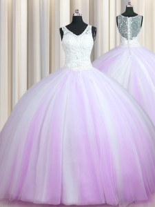 Edgy Zipper Up With Train Lilac Vestidos de Quinceanera Tulle Brush Train Sleeveless Beading