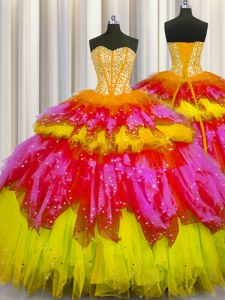 Fantastic Bling-bling Visible Boning Floor Length Multi-color Quinceanera Dress Tulle Sleeveless Beading and Ruffles and Ruffled Layers and Sequins