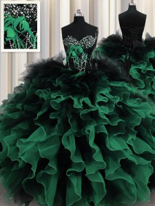 Multi-color Ball Gowns Beading and Ruffles 15th Birthday Dress Lace Up Organza and Tulle Sleeveless Floor Length