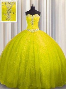 Sweetheart Sleeveless Vestidos de Quinceanera Court Train Beading and Appliques Yellow Tulle and Sequined