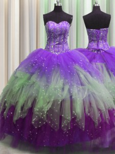 Visible Boning Sleeveless Floor Length Beading and Ruffles and Sequins Lace Up Sweet 16 Dresses with Multi-color