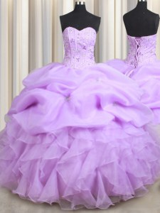 Fantastic Visible Boning Lilac Ball Gowns Beading and Ruffles and Pick Ups Sweet 16 Quinceanera Dress Lace Up Organza Sleeveless Floor Length