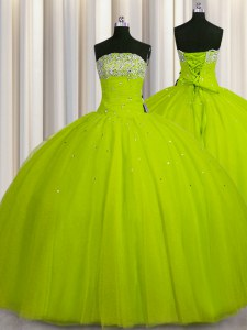 New Style Big Puffy Yellow Green Ball Gowns Strapless Sleeveless Organza Floor Length Lace Up Beading and Sequins Quinceanera Dress
