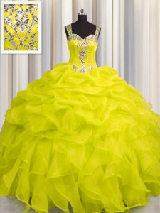 Amazing See Through Zipper Up Yellow Sleeveless Organza Zipper 15th Birthday Dress for Military Ball and Sweet 16 and Quinceanera