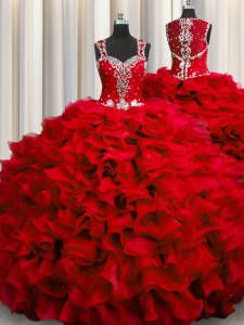 Comfortable Zipple Up See Through Back Wine Red Zipper Straps Beading and Ruffles Quince Ball Gowns Organza Sleeveless