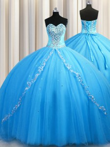 Cute Baby Blue Lace Up 15th Birthday Dress Beading Sleeveless Brush Train