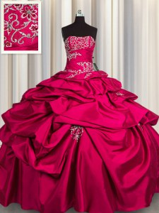 Flirting Hot Pink Sweet 16 Quinceanera Dress Military Ball and Sweet 16 and Quinceanera and For with Appliques and Pick Ups Strapless Sleeveless Lace Up